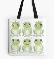 3 Crowned Frogs and 3 Crownless Frogs Tote Bag