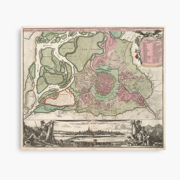 Vintage Map of Vienna Austria (1716) Canvas Print