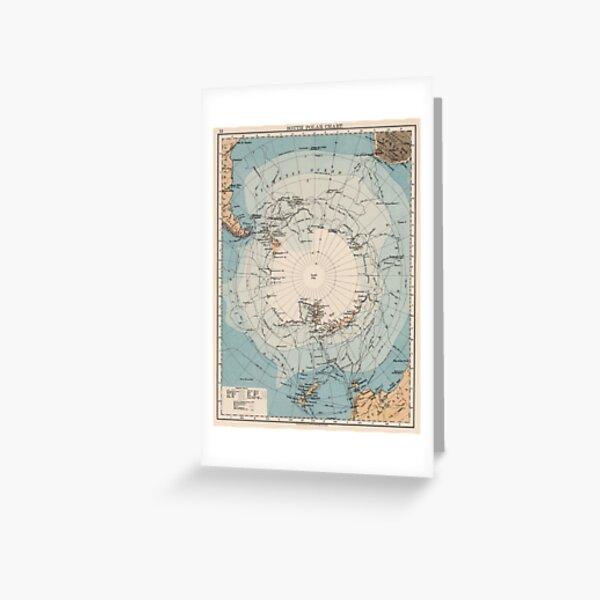 Weinlese-Antarktis-Erkundungsroutenkarte (1906) Grußkarte