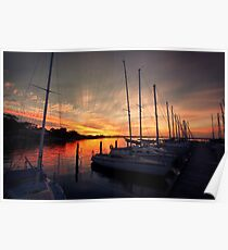 Yachts in the Sunset Poster