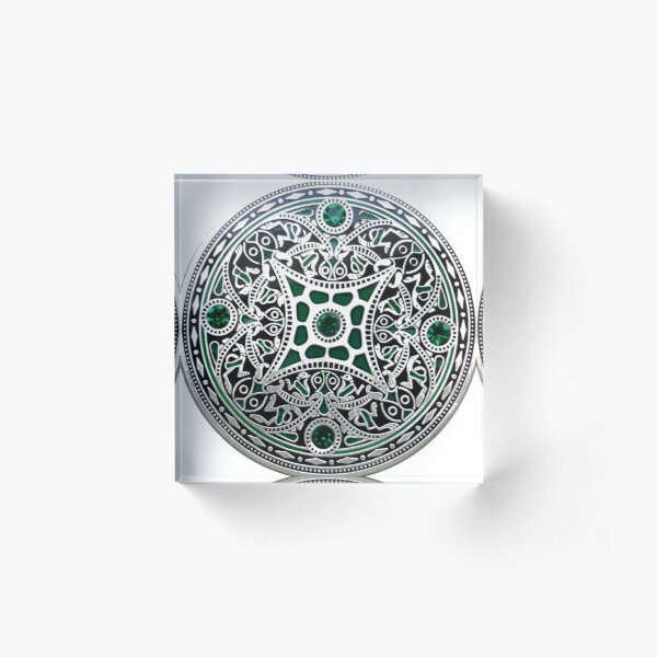 decoration, ornate, pattern, flower, art, proportion, antique, lace, embroidery, abstract Acrylic Block