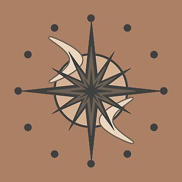 Mid Century Modern Sputnik Starburst Sepia by thepixelgarden