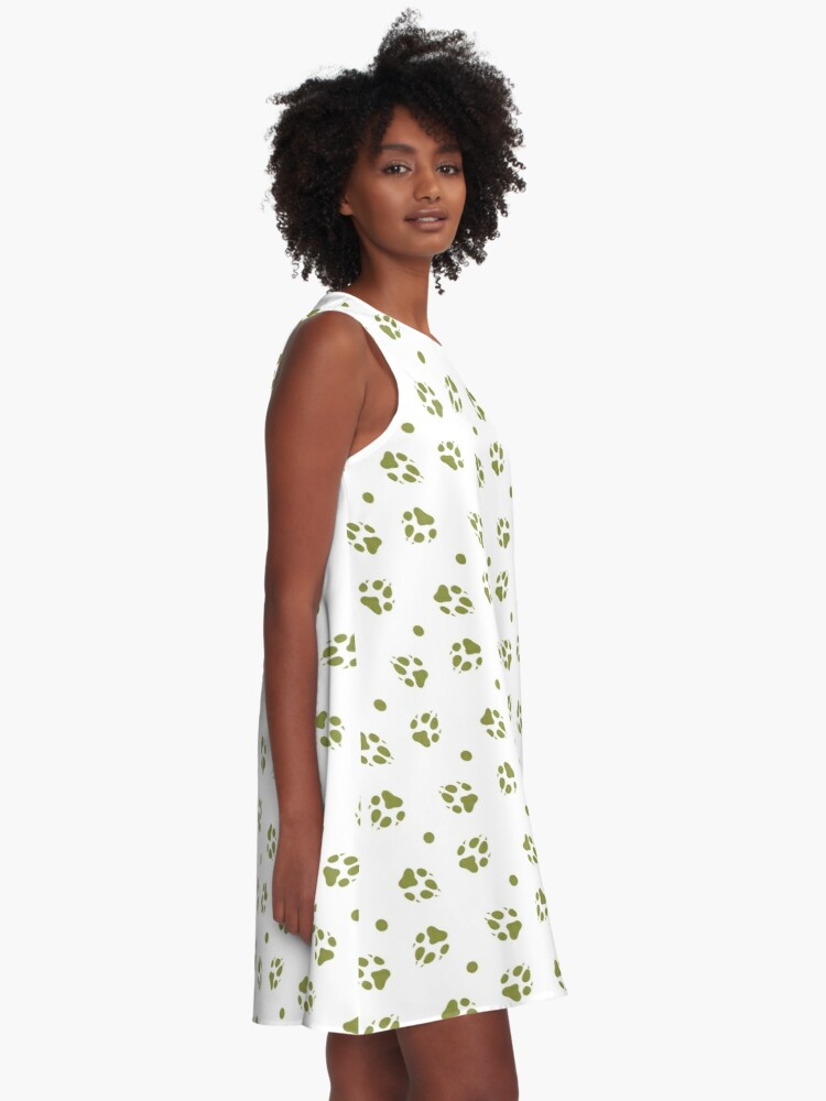 Alternate view of Seamless pattern with dog tracks Animal background A-Line Dress