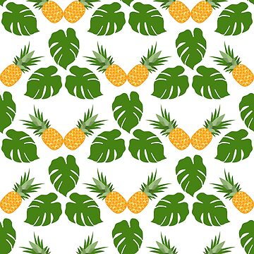 Seamless pattern with pineapples, monstera leaves by aquamarine-p
