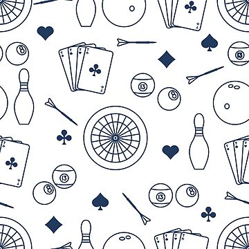 Sports pattern. Darts, billiards, bowling, cards. by aquamarine-p