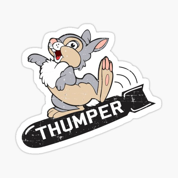 "Boeing B-29 - ""THUMPER"" nose art - Grunge Style Sticker"