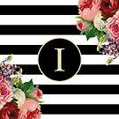 Monogram I On Vintage Flowers And Black And White Stripes by rewstudio