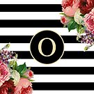 Monogram O On Vintage Flowers And Black And White Stripes by rewstudio