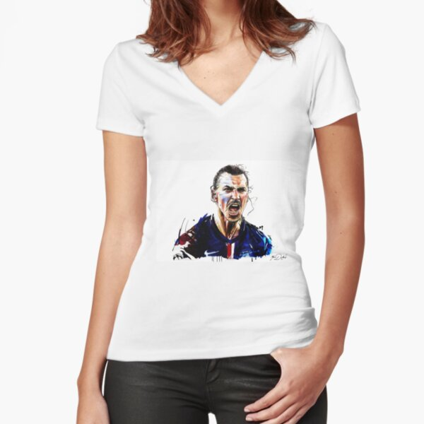 zlatan ibrahimovic 3 Tailliertes T-Shirt mit V-Ausschnitt