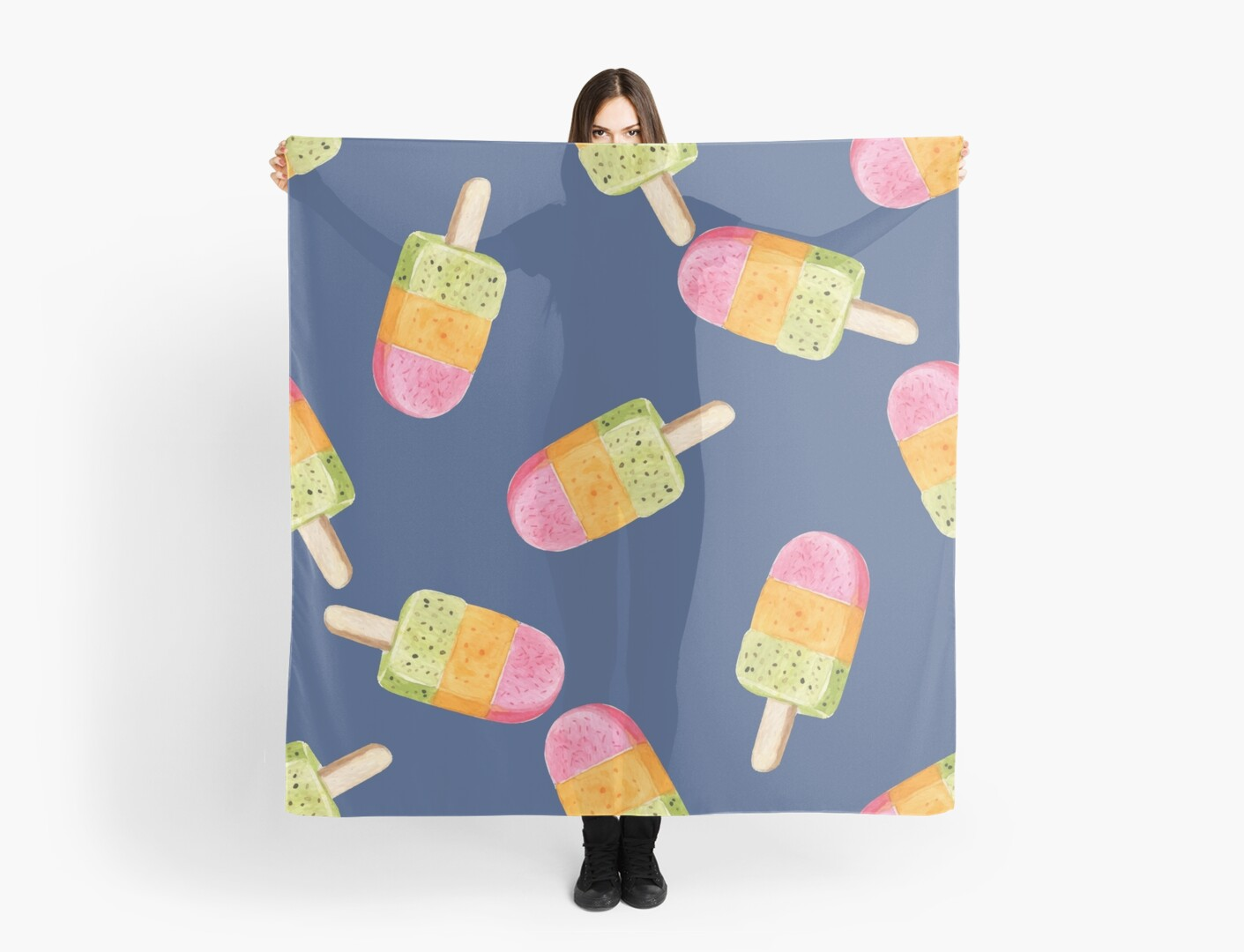 watercolor icecream popsicle seamless pattern by julkapulka