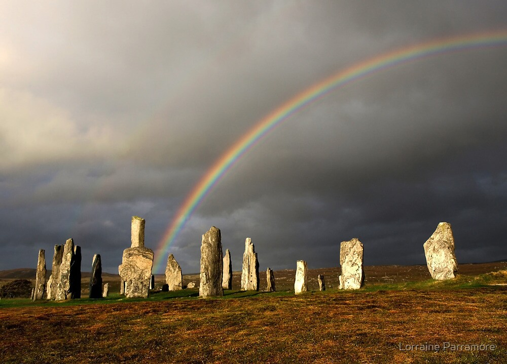 Rainbow over Callanish Stones by Lorraine Parramore
