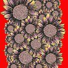 Cluster of Red Yellow Sunflowers  by Lukasz  Czyzewski