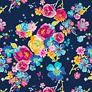 PCD3020-MIDNIGHT BLOOMS NAVY by Jackie Werner