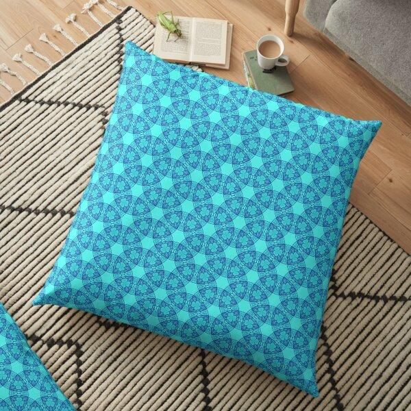 Aqua Blue Magic Circle Pattern Floor Pillow