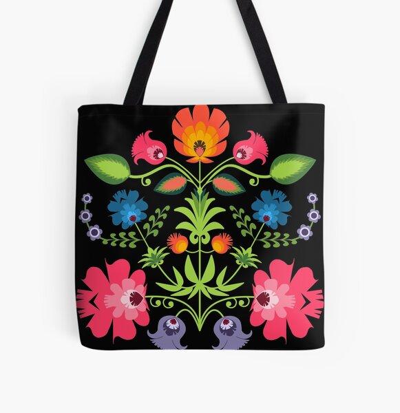 Polish Folk Flowers on Black All Over Print Tote Bag