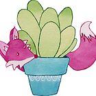 Fox and Succulent  by JenniferCharlee