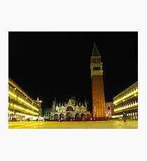 Night time in St Marco Square, Venice, Italy Photographic Print