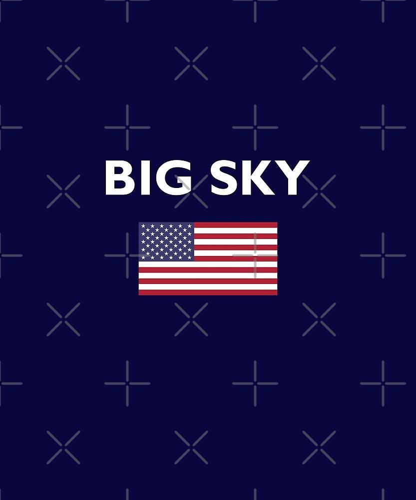 Big Sky USA American Flag Dark Color T-Shirt by TinyStarAmerica