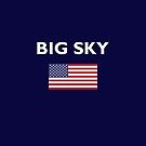 Big Sky USA American Flag Dark Color T-Shirt by TinyStarAmerica