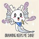 «¡El dibujo me mantiene sano! (Contornos negros) | kawaii positivo dragón lindo artista» de PikachuRox