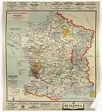 Póster Mapa vintage - Bourguignon, Mapa gourmet de Francia, 1929 ✔ Calidad HQ