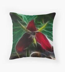 Red Trilium Throw Pillow