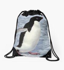 Adelie Penguin Walking on the Fast Ice Drawstring Bag