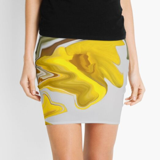 abstract yellow contrasts Mini Skirt