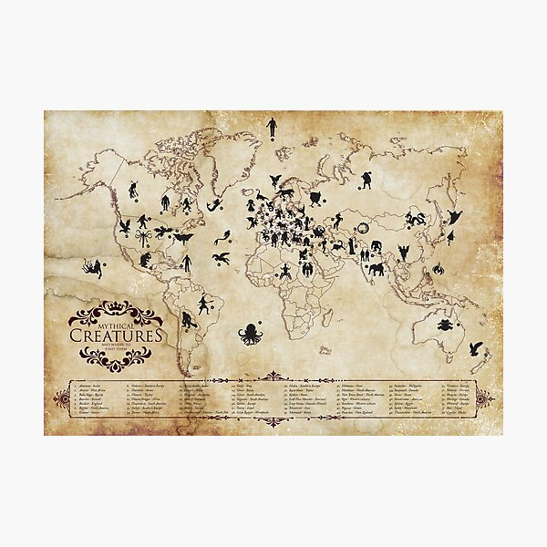 Mythical Creatures, and where to find them - Map Photographic Print