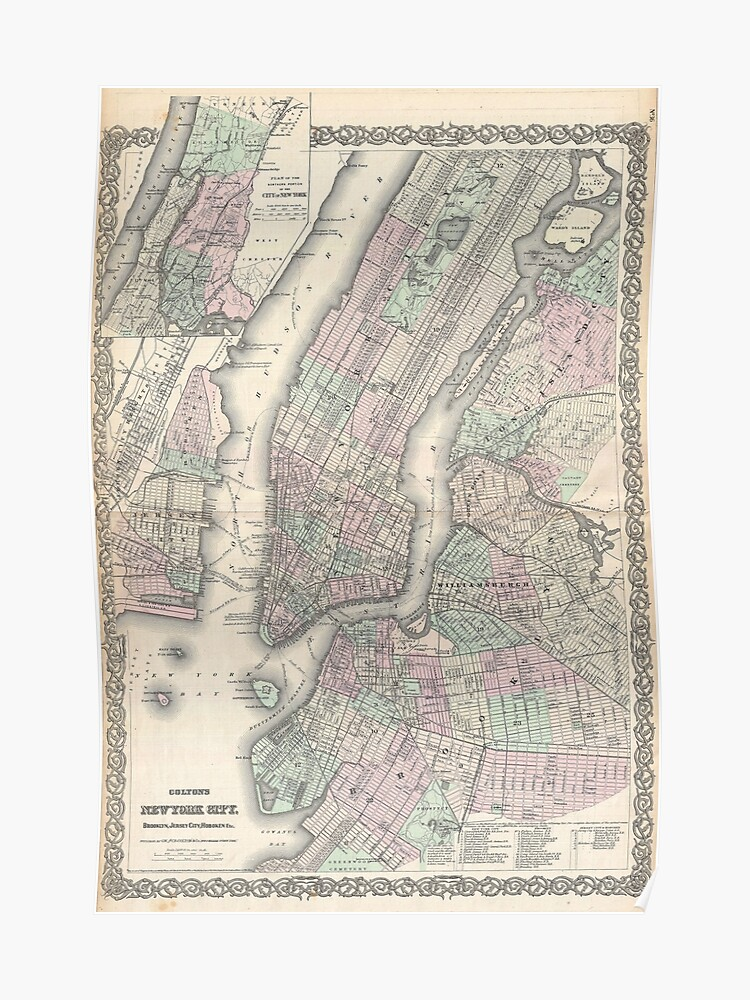 Map Of New York City And Long Island.Vintage Map 1865 Colton Map Of New York City Manhattan Brooklyn Long Island Hq Quality Poster