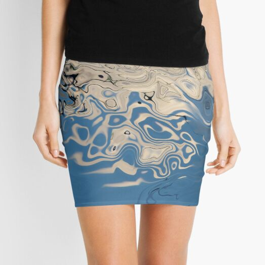white and blue abstractions Mini Skirt