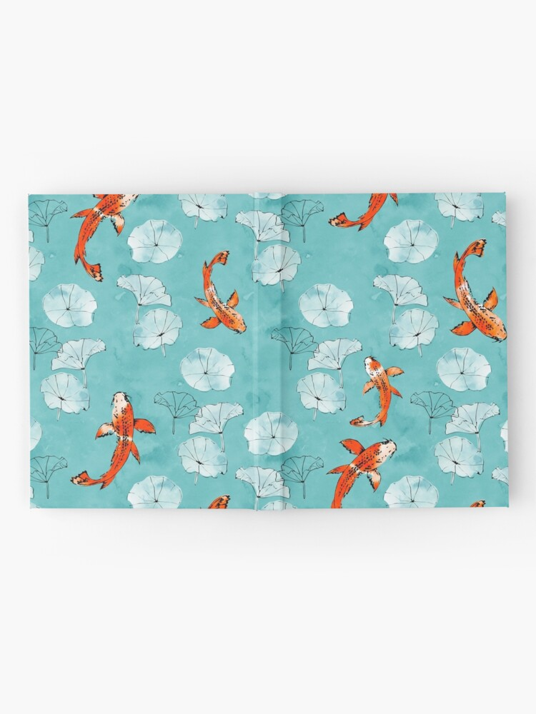 Alternate view of Waterlily koi in turquoise Hardcover Journal