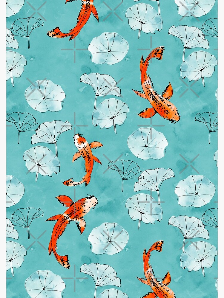 Waterlily koi in turquoise by adenaJ