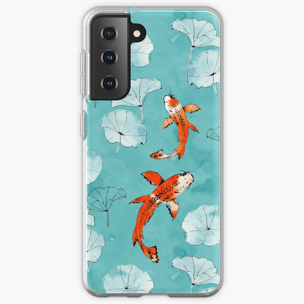 Waterlily koi in turquoise Case & Skin for Samsung Galaxy