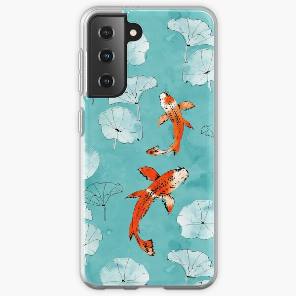 Waterlily koi in turquoise Samsung Galaxy Soft Case