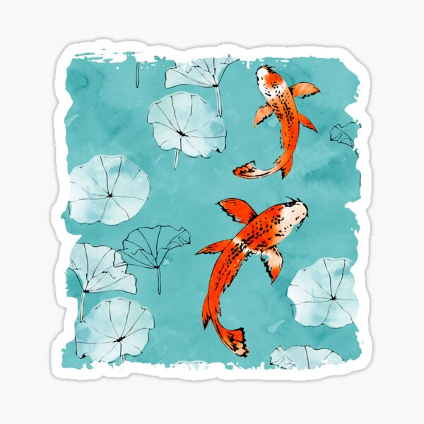 Waterlily koi in turquoise Sticker