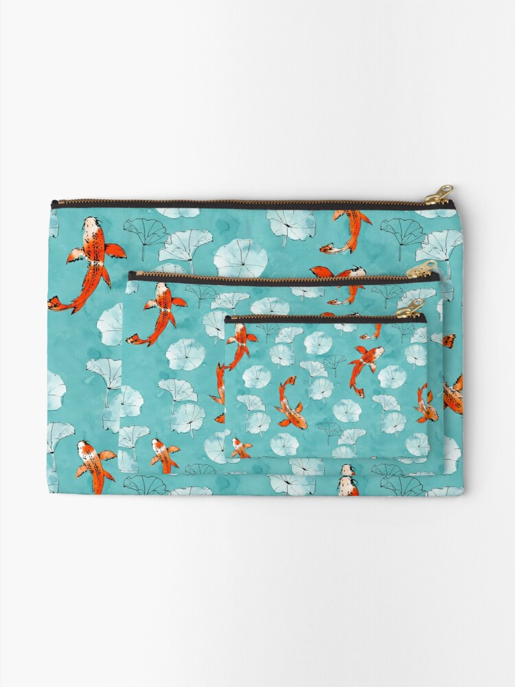 Alternate view of Waterlily koi in turquoise Zipper Pouch