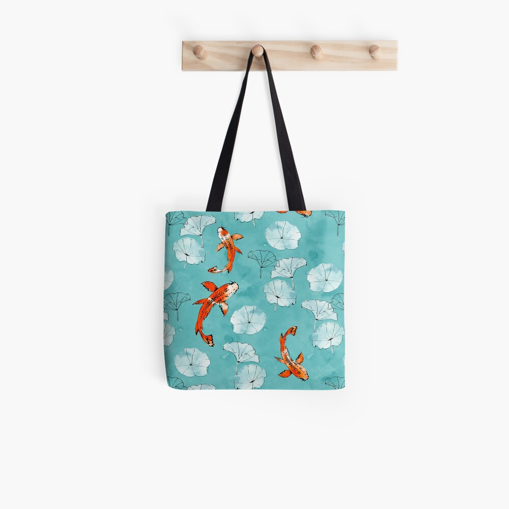 Waterlily koi in turquoise Tote Bag