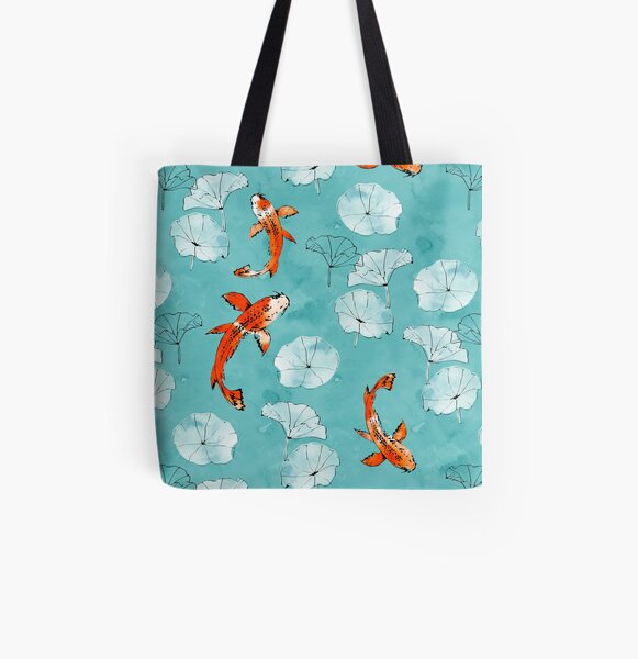 Waterlily koi in turquoise All Over Print Tote Bag