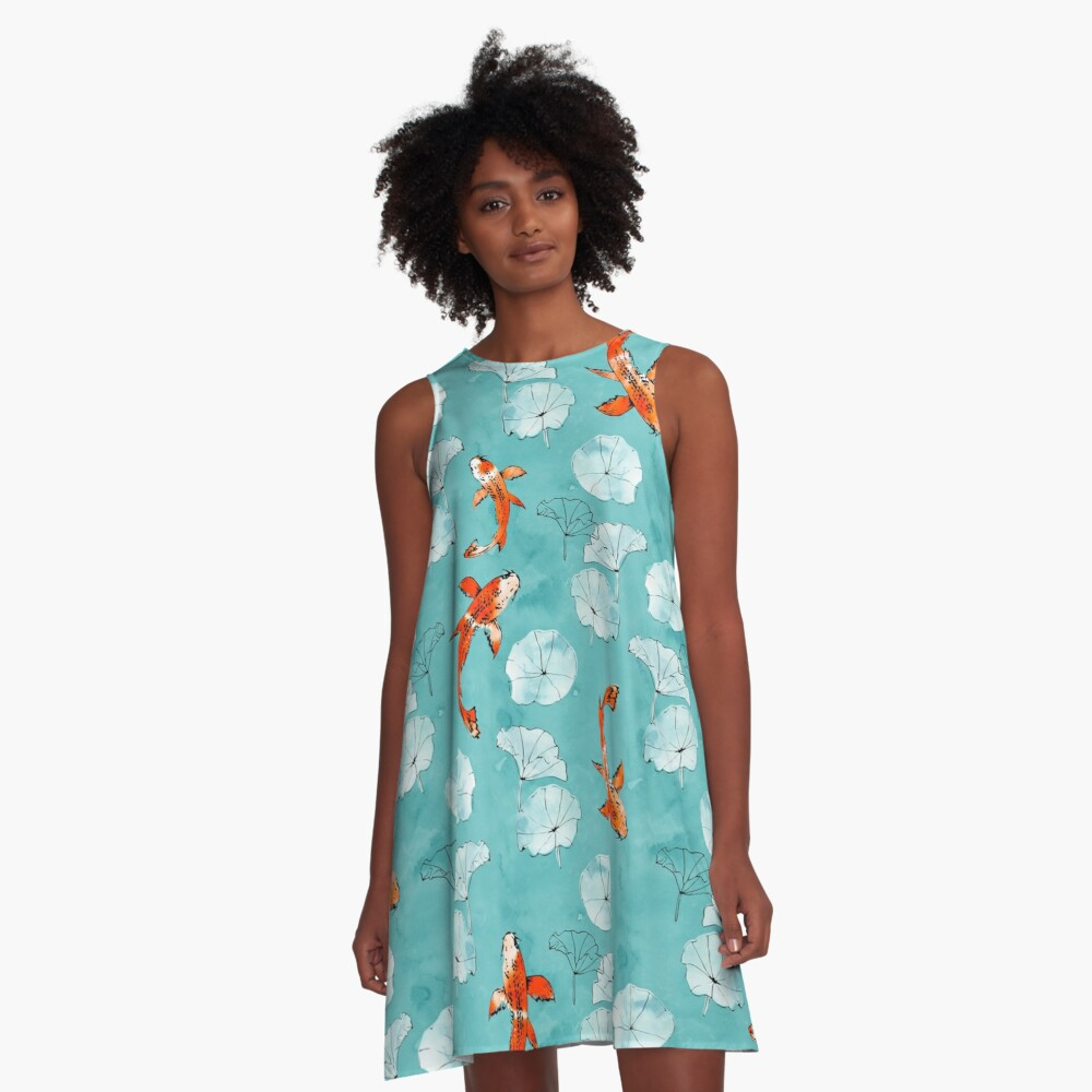 Waterlily koi in turquoise A-Line Dress