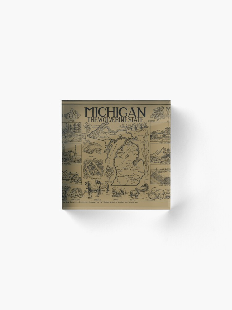 Alternate view of Vintage Map of Michigan (1912) - Tan Acrylic Block