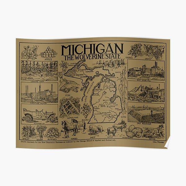 Vintage Map of Michigan (1912) - Tan Poster