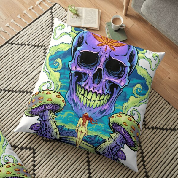 Purple Cannabis Skull with Mushrooms Floor Pillow