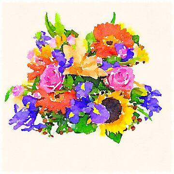 Acuarela ramo de flores vibrante. de Statepallets