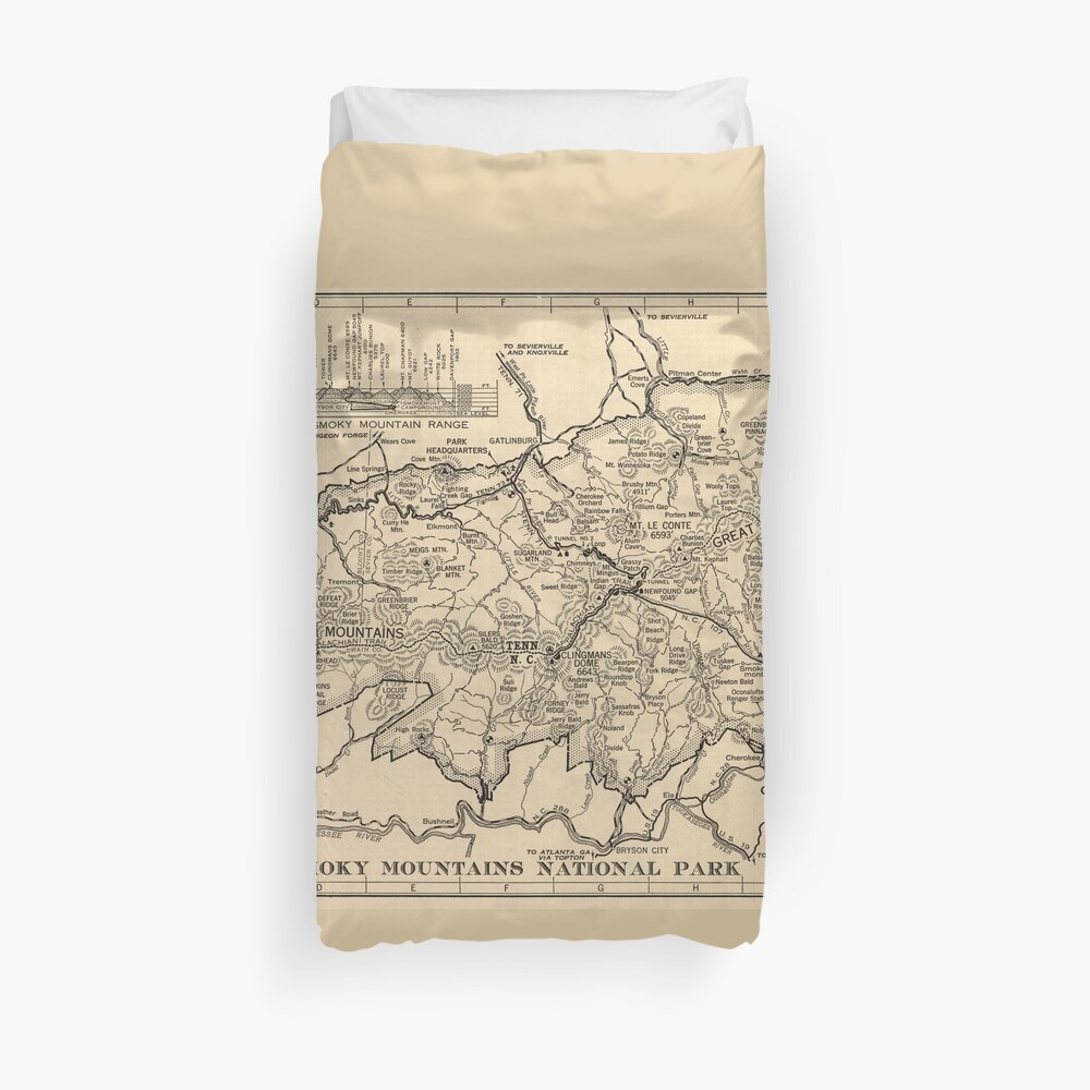 Vintage Great Smoky Mountains National Park Map (1941) Duvet Cover