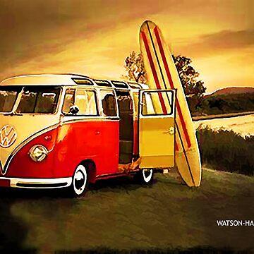 Vintage Surfer Van by marlenewatson