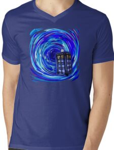 Blue Phone Box with Swirls Mens V-Neck T-Shirt