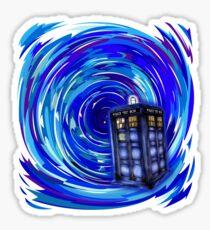 Blue Phone Box with Swirls Sticker