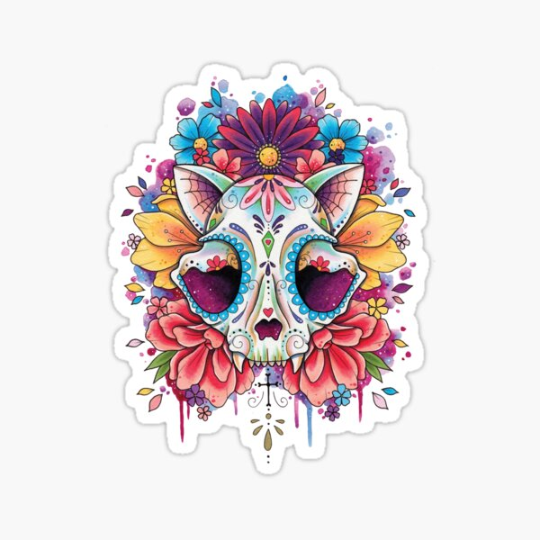 Sugar Cat Skull watercolor design Sticker