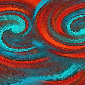 Teal Orange Swirl Modern Abstract Design by Artification